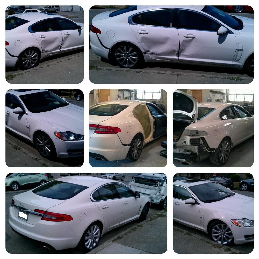 After a grueling month or so the car was back to its pristine look. It took a while but in the end it was all worth it. & Side Damage on Jaguar XF » Five Star auto body and paint
